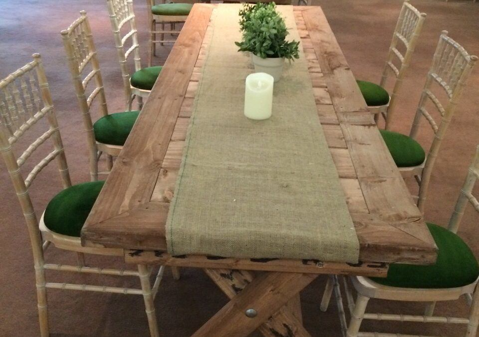 Rustic Table and Chair Set with Hessian Cloth