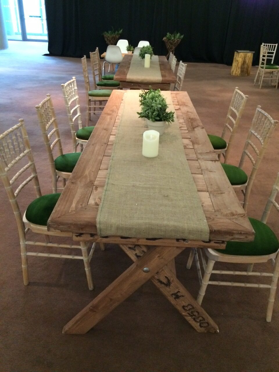 Rustic-Table-and-Chair-Set-with-hessian-cloth
