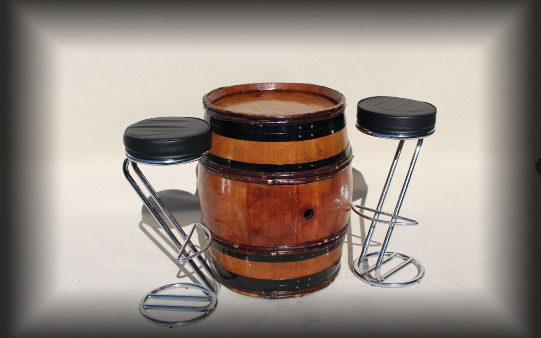 Rustic Barrels with chrome & black bar stools