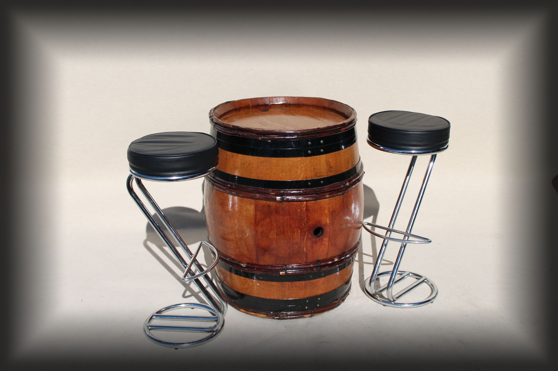 Rustic Barrels with chrome & black bar stools